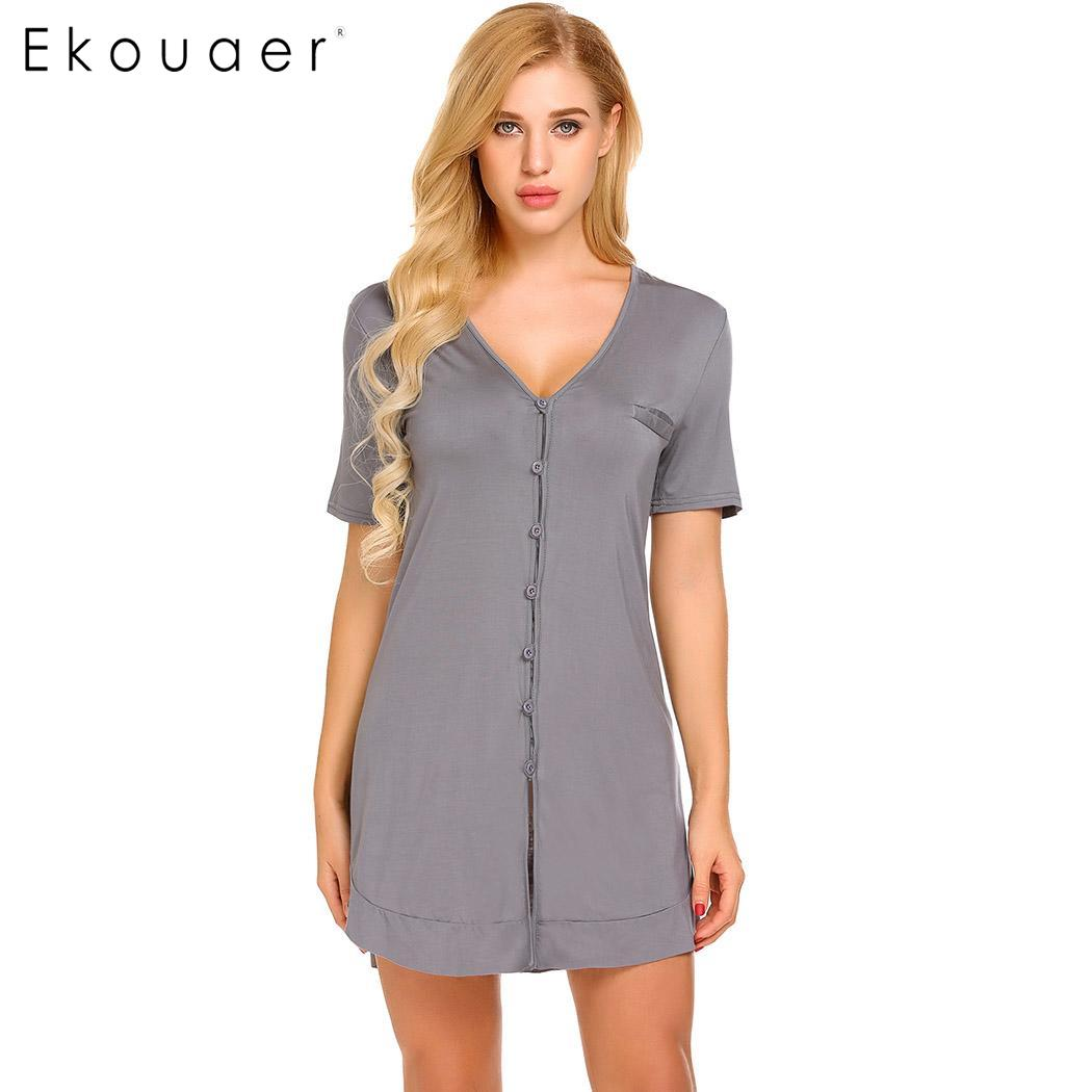 c7d87cacb8 Ekouaer Women Sexy Nightgown Short Sleeve Button Shirt Nightdress Sleepwear  Night Dress Female Home Clothing - a.droneport.me