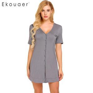 Image 1 - Ekouaer camisola sexy feminina, camisola de manga curta com botão, roupa para dormir, vestido de noite, roupa feminina de casa