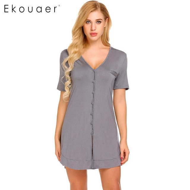 Ekouaer camisola sexy feminina, camisola de manga curta com botão, roupa para dormir, vestido de noite, roupa feminina de casa