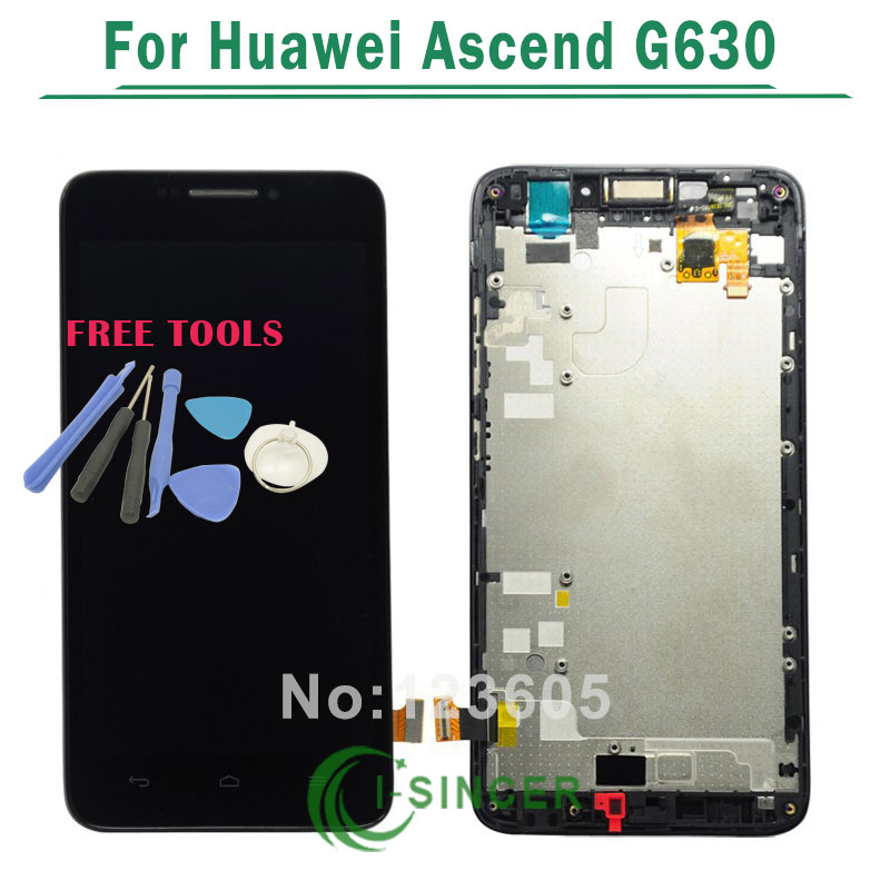 For Huawei Ascend G630 lcd display screen with touch digitizer glass assembly+frame Tools Free Shipping replacement original touch screen lcd display assembly framefor huawei ascend p7 freeshipping