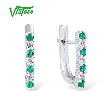 81f0adbca0fb VISTOSO plata Chic Stud pendientes joyería fina ronda verde espinela 100%  Plata de Ley 925 delicada joyería fina