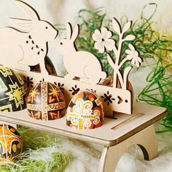 Wooden Easter Egg Shelves for Easter Party Ornament DIY Bunny Letter Egg Stand Rack Rabbit Pattern Easter Decoration for Home