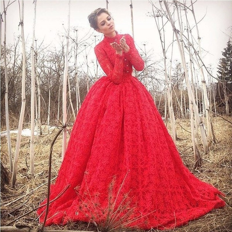 Muslims Red Lace Wedding Dress 2016 Ball Gown High Neck