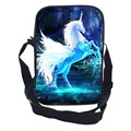 Special Offer Hot Sale Oxford 10-Inch Prints Mythical Animals Kids School Bags Black Children Messenger Bag for Teenage Girls