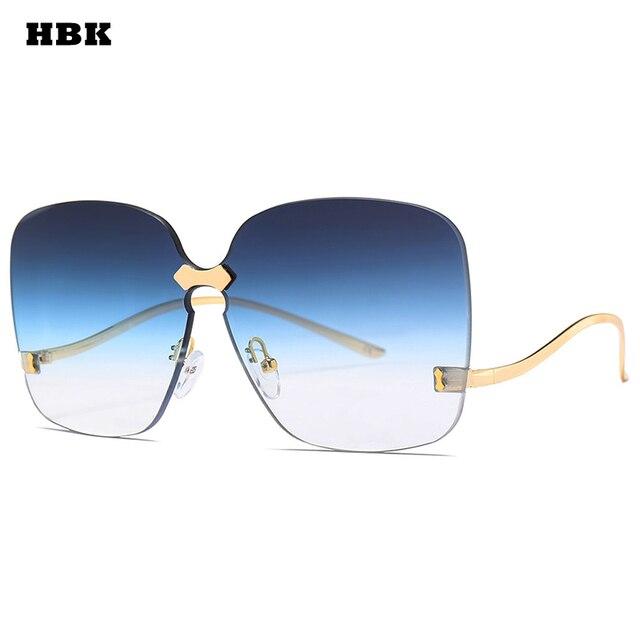 1b5b1e353888f HBK Oversized Rimless gafas de sol mujer Gradient lente UV400 calidad  superior marca azul Rosa plana
