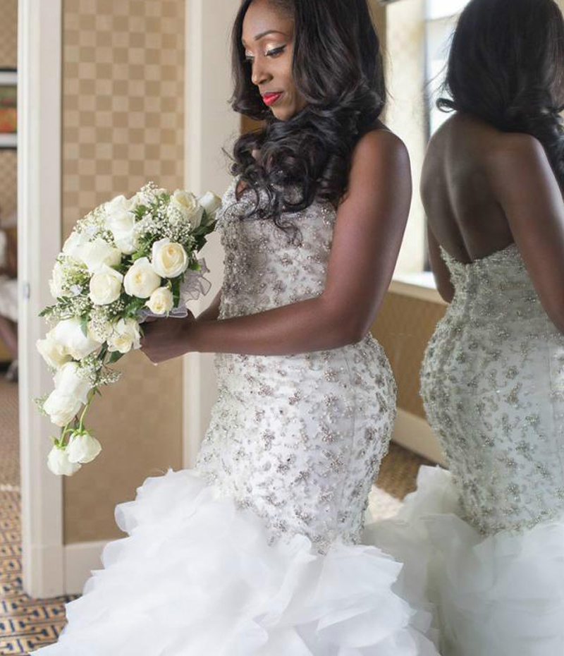 Sweetheart Mermaid Wedding Dress Backless Bride Dress Beads Sequines Wedding Gown Ruffles Tiere Wedding Dress vestido de noiva