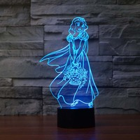 Princess 3D Night Light Lamps 7 Colors Changing USB Charge Led Night Lights For Babies Girls