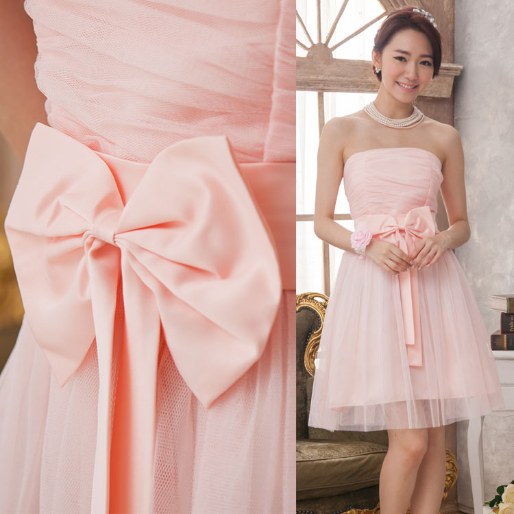 2017 New Bridesmaid Dresses Plus Size Stock Cheap Under $50 Sexy Romantic Sister Simple Elegant Fashion Short Pink Flowers Belt
