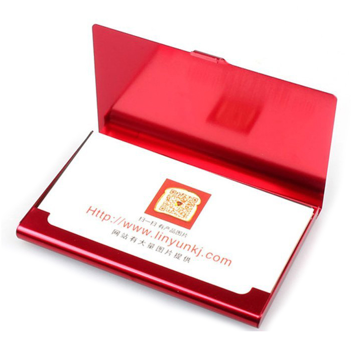 Creative Aluminum Holder Useful Box Cover Credit Business Card Wallet (Red)