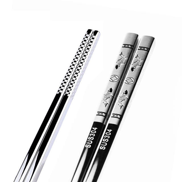 Vacclo 1pair Stainless Steel Anti Skid Dragon Chopsticks Sushi Metal Iron Portable Chinese Healthy Food stick Tableware 2