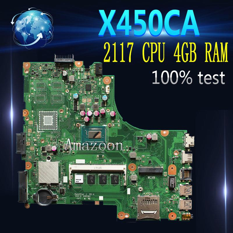 Amazoon X450CA Laptop motherboard 2117 CPU 4GB <font><b>RAM</b></font> for X450CA X450CC Test mainboard X450CA motherboard test 100% ok image