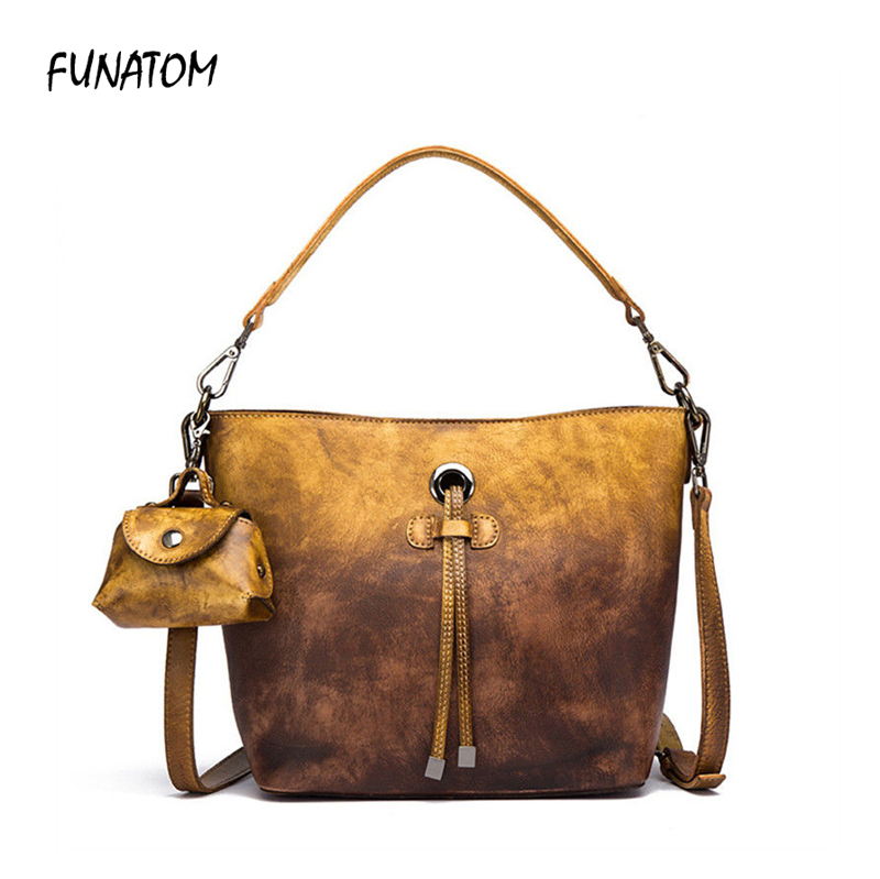 Fashion 100% Soft Genuine Leather Tassel Women's Handbag Ladies Shoulder Bags Women Famous Brand Luxury Designer Tote