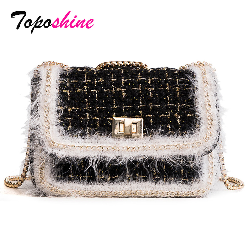 Toposhine Brand Fashion Female Shoulder Bag Plaid Women Handbag Chain Vintage Women Messenger Bag Small Girls Crossbody Bags denim vintage quilted across bag women s blue jean plaid stylish brand fashion flap chain crossbody shoulder bag purse handbag