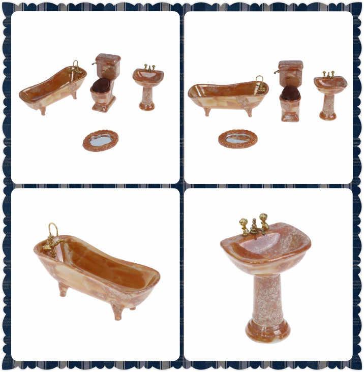 Set da bagno in porcellana gialla, Set da bagno in porcellana 4: 1 1:12