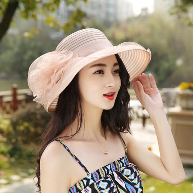Retro red organza moda femenina sol del verano del sombrero Señora sombrero sombrero para el Sol