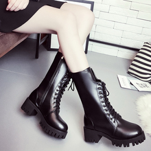 newest women boots in winter women's jackboots thick Martin boots British style high heels winter shoes for womens