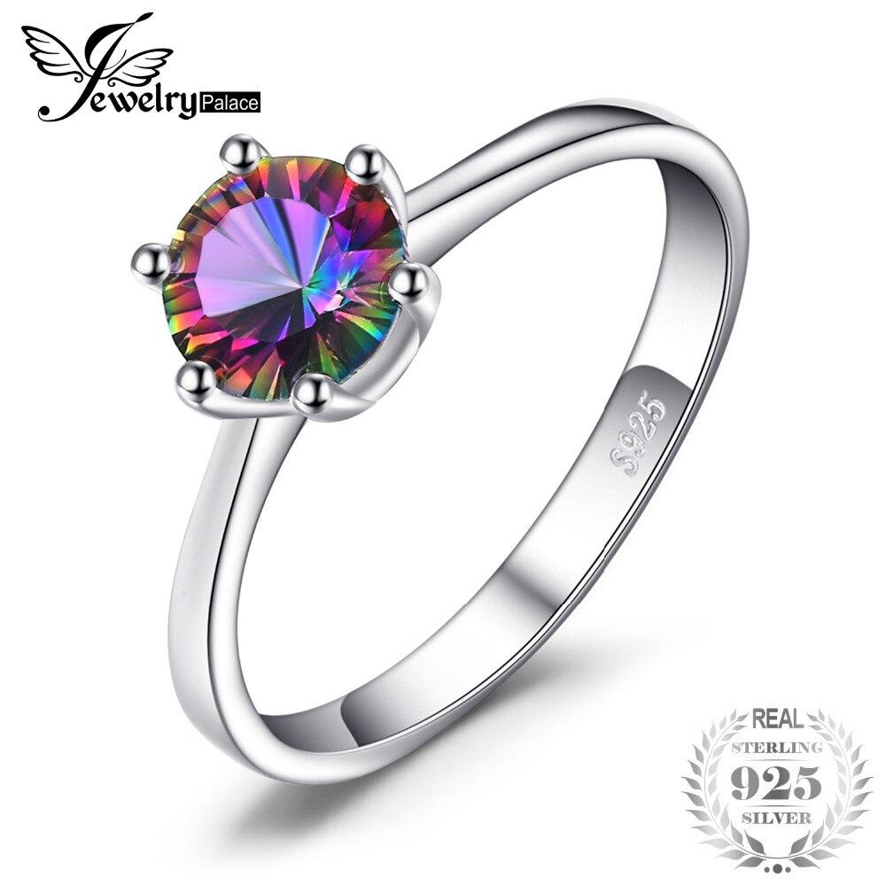 JewelryPalace 1ct Mystic Feuer Regenbogen Topaz Engagement Hochzeit Ring Solide 925 Sterling Konkaven Runde Einzigartige 2018 Marke Neue Geschenk