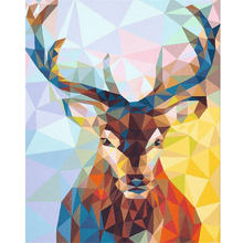 Deer Diy Oil Painting Frame Digital Canvas Painting By Numbers with Acrylic Paint Home Decor Elk Oil Painting On Canvas Handmade(China)