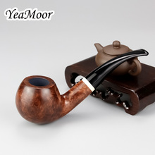 New White Ring Tobacco Pipe 9mm Filter Briar Wood Set 20 filter 50 cleaner free Smoking Big Bowl Bent