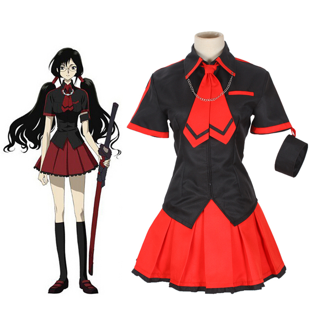 Aliexpress.com  Buy Free Shipping Black and Red Blood C Kisaragi Saya Cosplay Japanese Anime ...