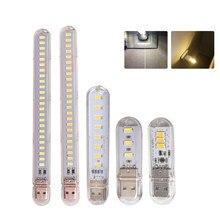 Mini USB portátil de luz LED de libro DC5V Ultra brillante lámpara para lectura de libros 3leds 8leds 24leds luces para el banco de potencia PC portátil