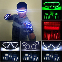 DJ Night Club Glow Party Supplies Festival suit LED Glasses + LED Gloves Rave Christmas Wedding Birthday Holiday DIY Decoration