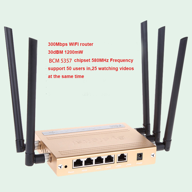 2 unids 300 Mbps de alta velocidad de 64 M de Memoria 1200 mw 30Dbi antena de alta ganancia 802.11N/B/G USB WIFI repetidor 3g 4g Inalámbrico Router