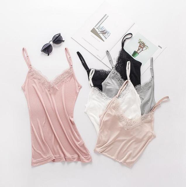 1pc 50% Silk 50% Viscose Knit V neck Lace Camisole Top Vest Shirt Sleepwear Spaghetti Strap SS005 2