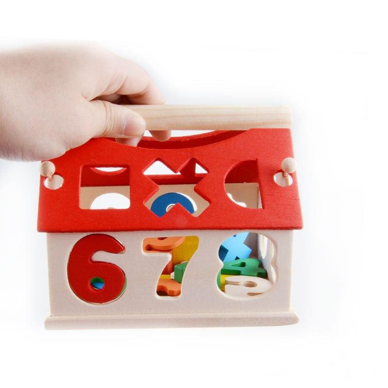 Малыш красочные мини деревянные строительные блоки обучения номер дома письмо английский обучения Образование игрушки для детей детские п...