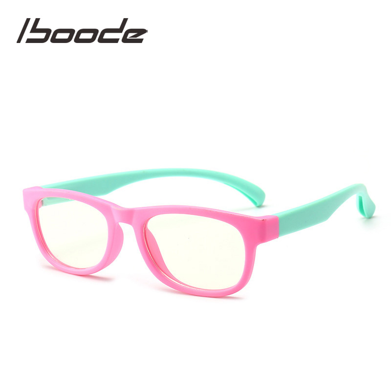 Iboode Blue Light Blocking Glasses Kids Boy Girl Square Computer Eyeglasses Clear Lens Optical Glasses Frame UV400 Oculos Garfas