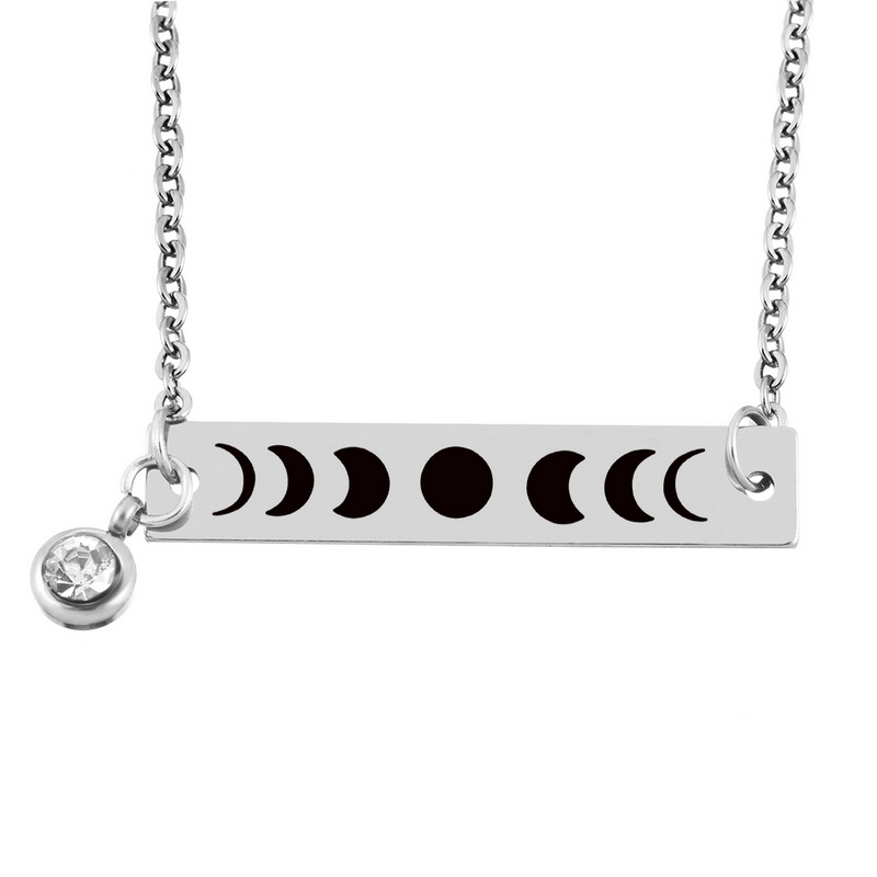 MJARTORIA Homemade Customized Lettering Stainless Steel Necklace Stainless Steel Jewelry For Women Solar Eclipse Necklace 51cm-1