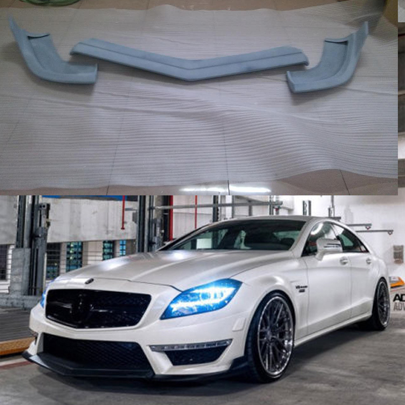 Unpainted Fiberglass front lip spoiler For Mercedes Benz CLS Class W218 CLS350 CLS63 AMG Bumper