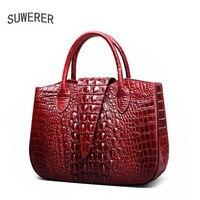 SUWERER 2018 New women Genuine Leather bags Fashion luxury Crocodile pattern women bags designer women leather handbags