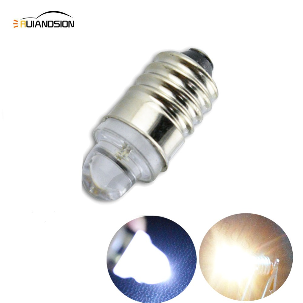 1pcs Xenon white E10 screw base LED torch headlight flashlight bulb 3V Wholesale in Signal Lamp from Automobiles Motorcycles