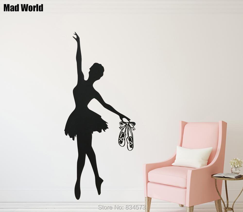 stickers muraux autocollant mural Ballerines Ballerines Fille Chambre Danse Sport Gens Autocollant Enfants P/épini/ère Chambre de B/éb/é Ballet Danse D/écor