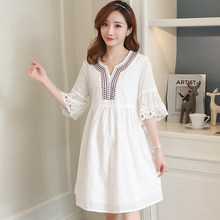 Maternity Clothes Fashion Summer New Arrival Hollow Short Sleeve White Dress for Pregnant Pregnancy Loose Temperament Plus Size(China)
