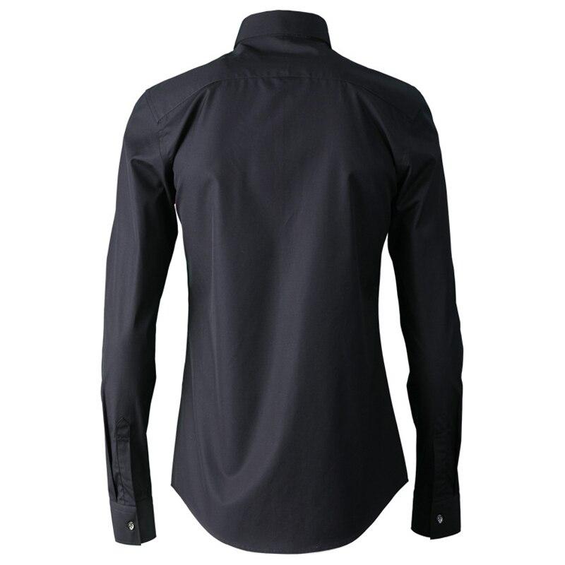 Or argent couleur Placket broderie chemise hommes de haute qualité 100% coton affaires hommes robe chemises 2019 solide mince décontracté vêtements - 3