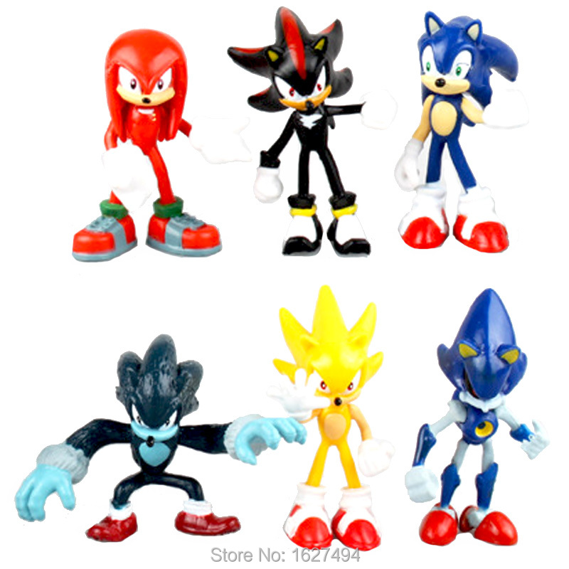 SEGA <font><b>Sonic</b></font> <font><b>the</b></font> Werehog Tails <font><b>Shadow</b></font> <font><b>the</b></font> Black <font><b>Hedgehog</b></font> PVC <font><b>Action</b></font> Figures Knuckles Statue Anime Figure Figurines Dolls Kids Toys