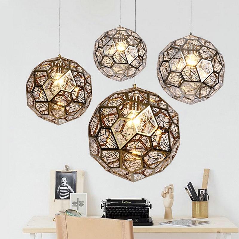 Home Dining Room Pendant Lamps Modern Globe Restaurant Coffee Bedroom Lights Stainless Steel Material AC110V