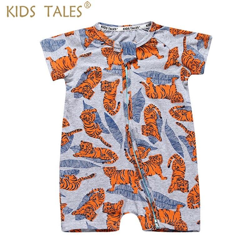Nouveau-né Bébé garçons Vêtements de Bande Dessinée Tigre Imprimé Barboteuses Bébé Filles En Bas Âge Vêtements À Manches Courtes Salopette Bébé Salopette