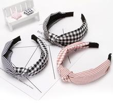 Women Hair Accessories Cotton Plaid Hairband Knot British Style Striped Fabric Headband Girls Headwear Spring Band 2019 New