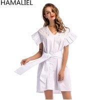 HAMALIEL Vestidos 2018 Women White Dress Summer Short Sleeve Beading Tie Bow Female Casual Slim V Neck Mini Plus Size Dress