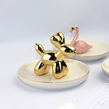 Creative High-Quality Nordic Style Ceramic Balloon Dog Plate Jewelry Tray Candy Dish Home Office Decor Ring Storage Gift