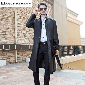 2017 Autumn Winter Black Long Trench Coat Men Stand Collar Casual Pu Windbreak Single Breasted Slim Wind Coat Dustcoat M-3XL