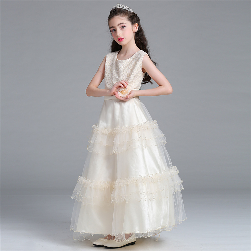 ABGMEDR Brand 2018 Flower Girls Wedding Dresses Kids Party Gowns Children Clothing Teenage Girls Dress for Age 4-15 Years Old