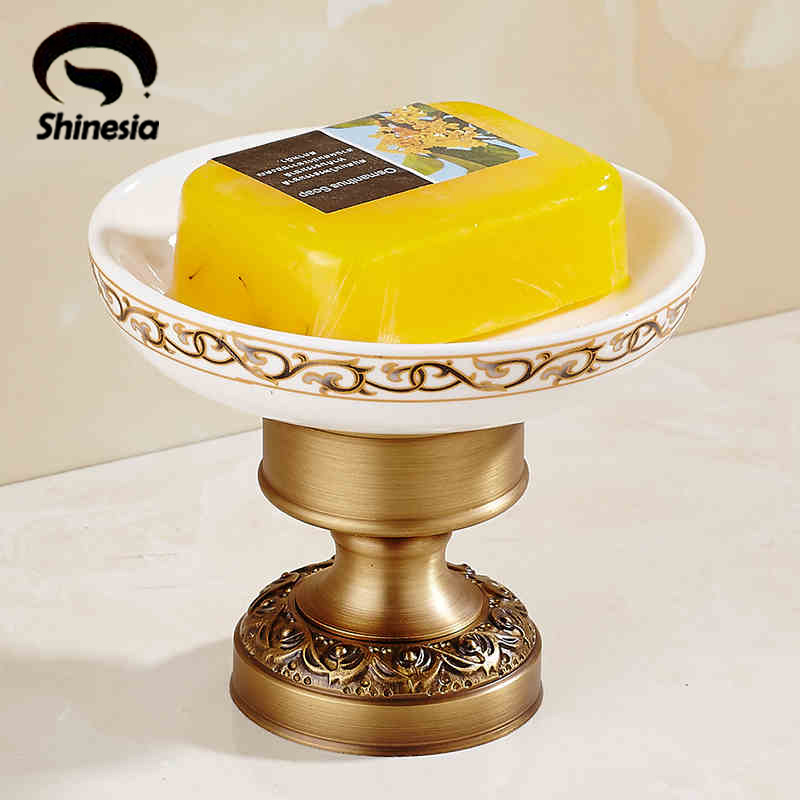 ФОТО Newly Free Shipping Antique Brass Euro Style Bathroom Soap Dish Holder Deck Mounted Single Ceramics Dish Sitting