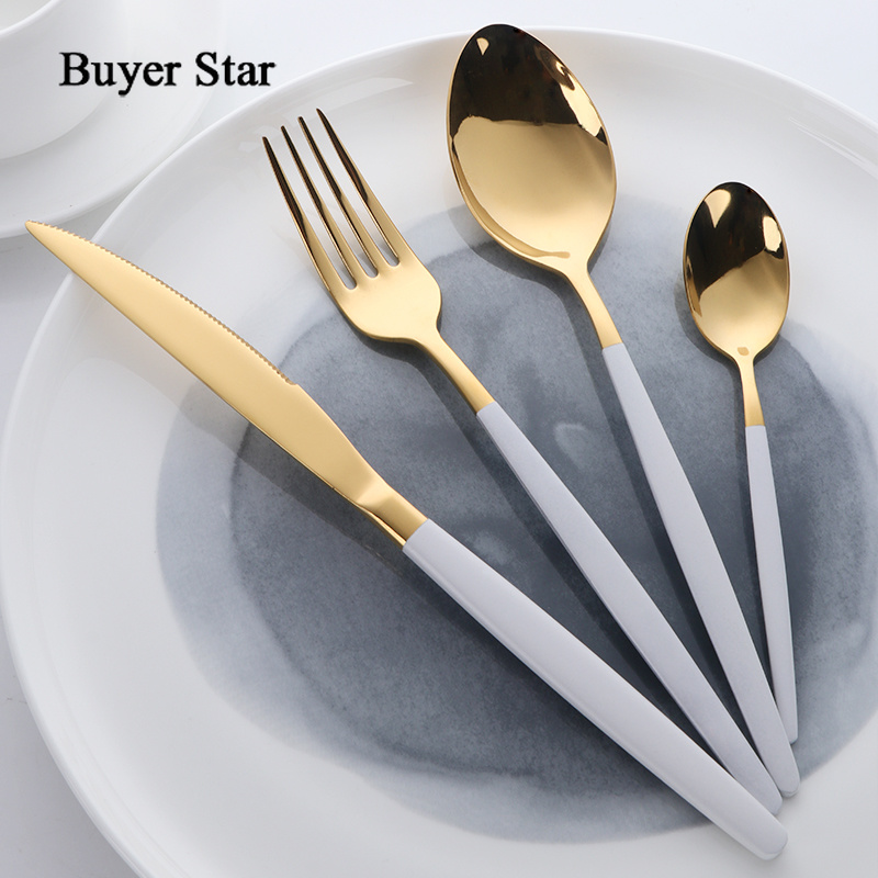 Buyer Star Flatware Set Gold Polish Black Handle Stainless Steel Food Silverware Dinnerware Utensil Kitchen Dining Cutlery Set 1