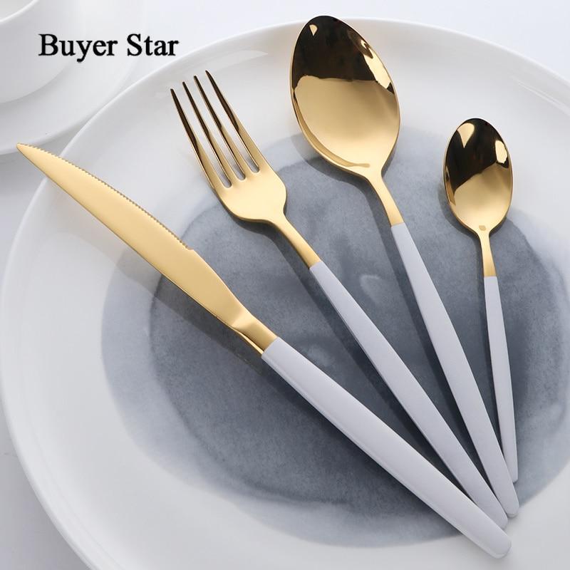 Buyer Star Flatware Set Gold Polish Black Handle Stainless Steel Food Silverware Dinnerware Utensil Kitchen Dining Cutlery Set