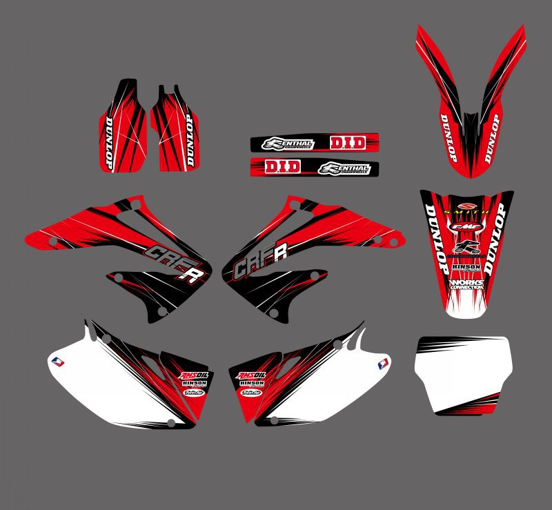 0174 New Style RED TEAM GRAPHICS BACKGROUNDS DECALS STICKERS Kits For Honda CRF450R CRF450 2002 2003