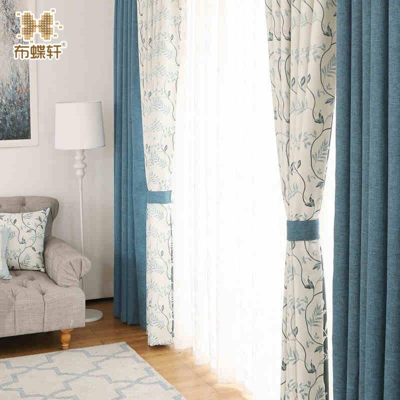 קוריאני פסטורלי סגנון יפה וילונות יוקרה אקארד עלים דפוס כחול פשתן-כמו וילונות לסלון חדר שינה
